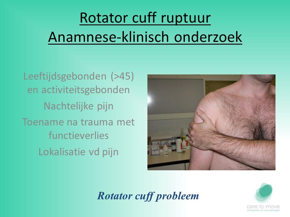 Rotator cuff ruptuur Anamnese-klinisch onderzoek