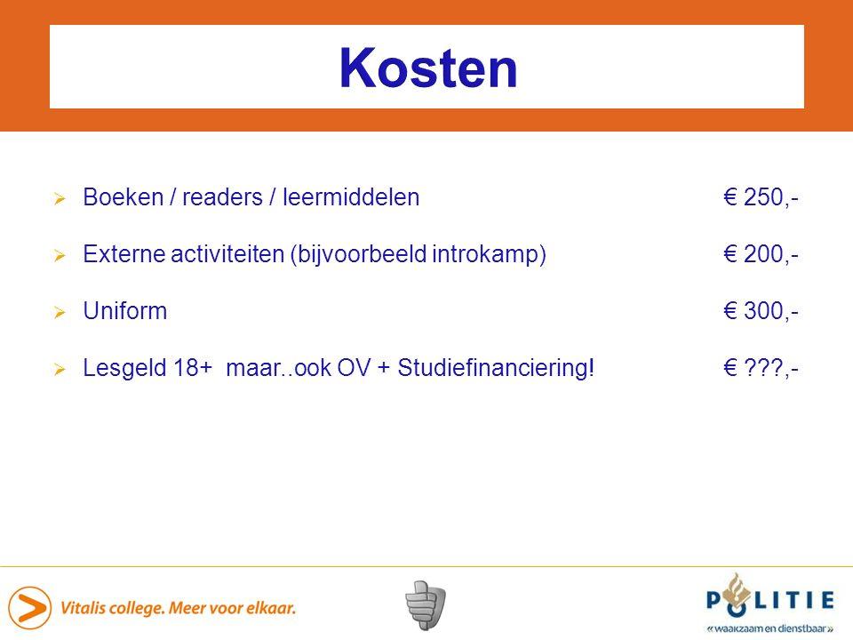 Kosten Boeken / readers / leermiddelen € 250,-
