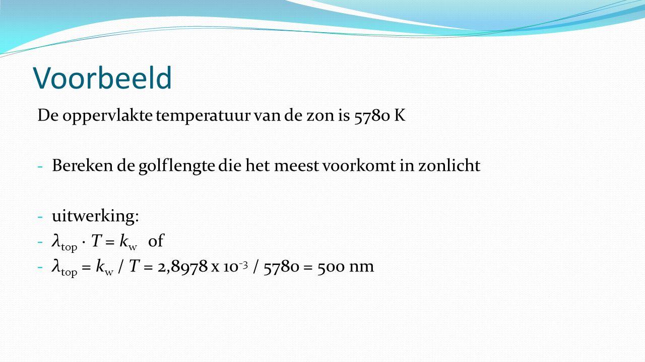 Voorbeeld De oppervlakte temperatuur van de zon is 5780 K