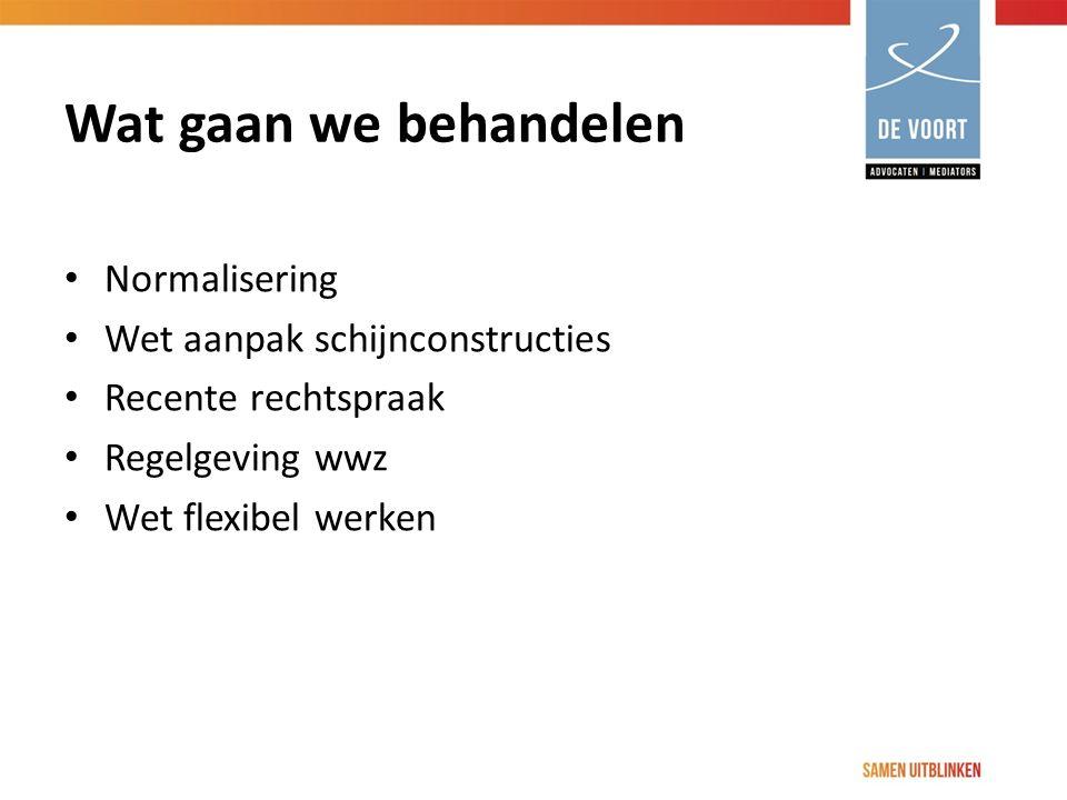 Wat gaan we behandelen Normalisering Wet aanpak schijnconstructies