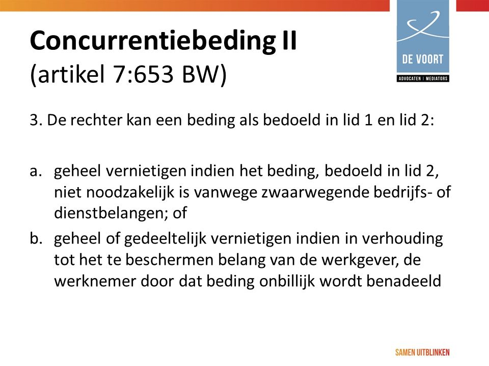 Concurrentiebeding II (artikel 7:653 BW)