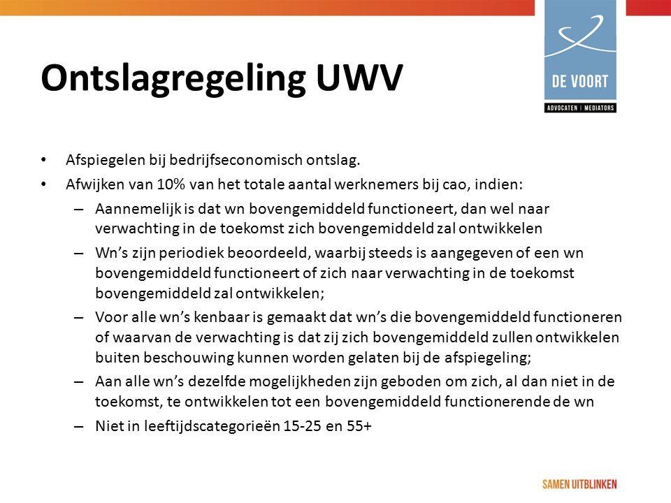 Ontslagregeling UWV Afspiegelen bij bedrijfseconomisch ontslag.