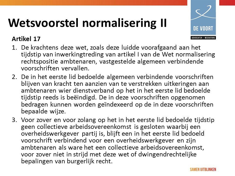 Wetsvoorstel normalisering II