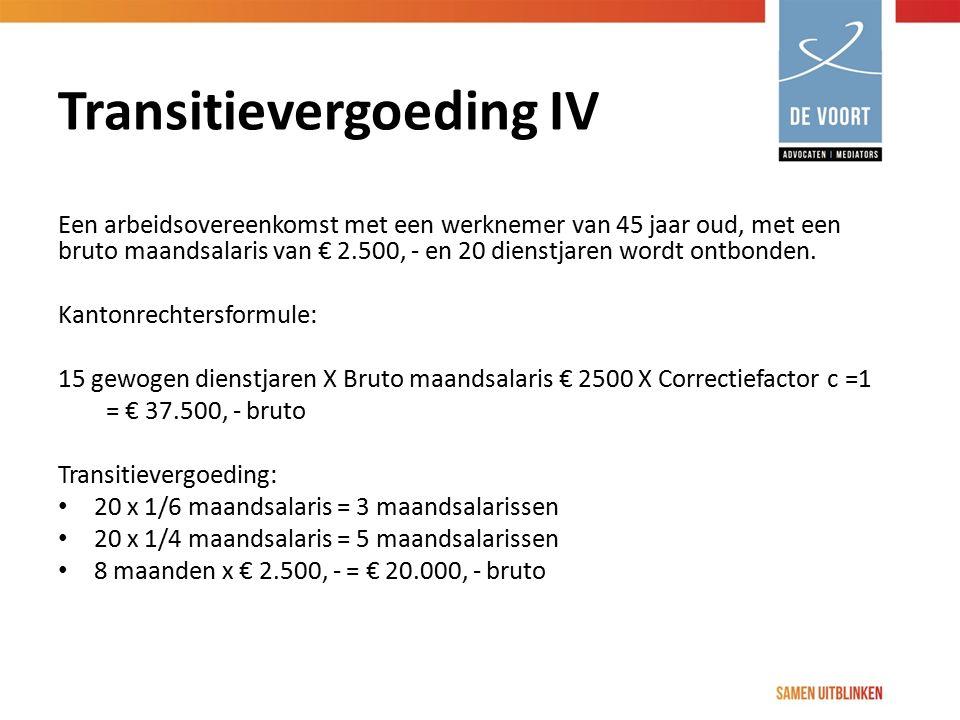 Transitievergoeding IV