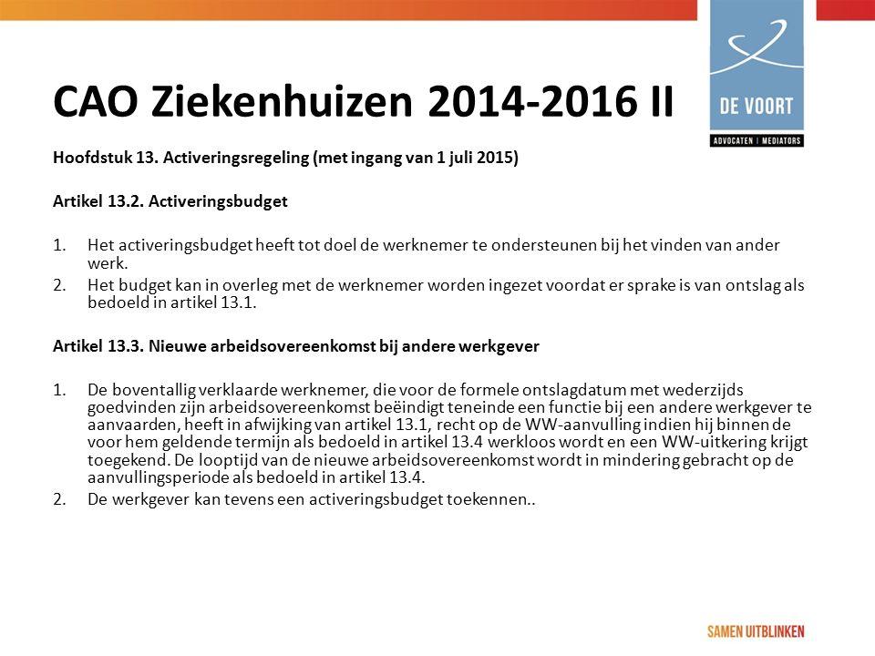 CAO Ziekenhuizen 2014-2016 II