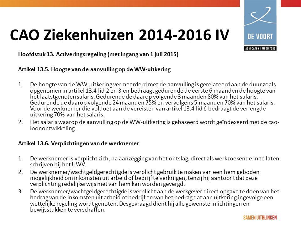 CAO Ziekenhuizen 2014-2016 IV