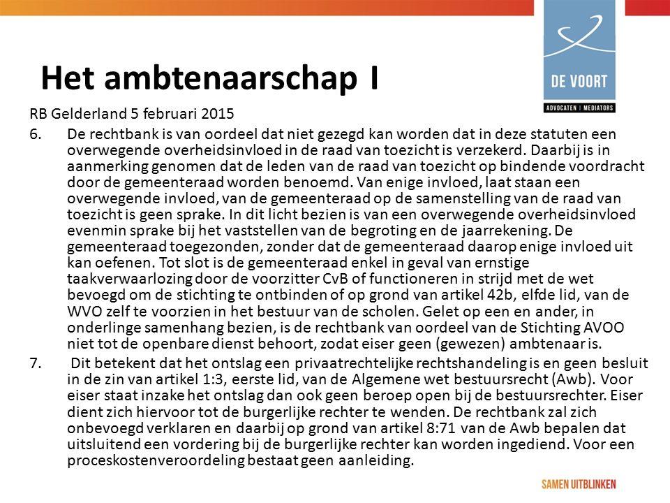 Het ambtenaarschap I RB Gelderland 5 februari 2015