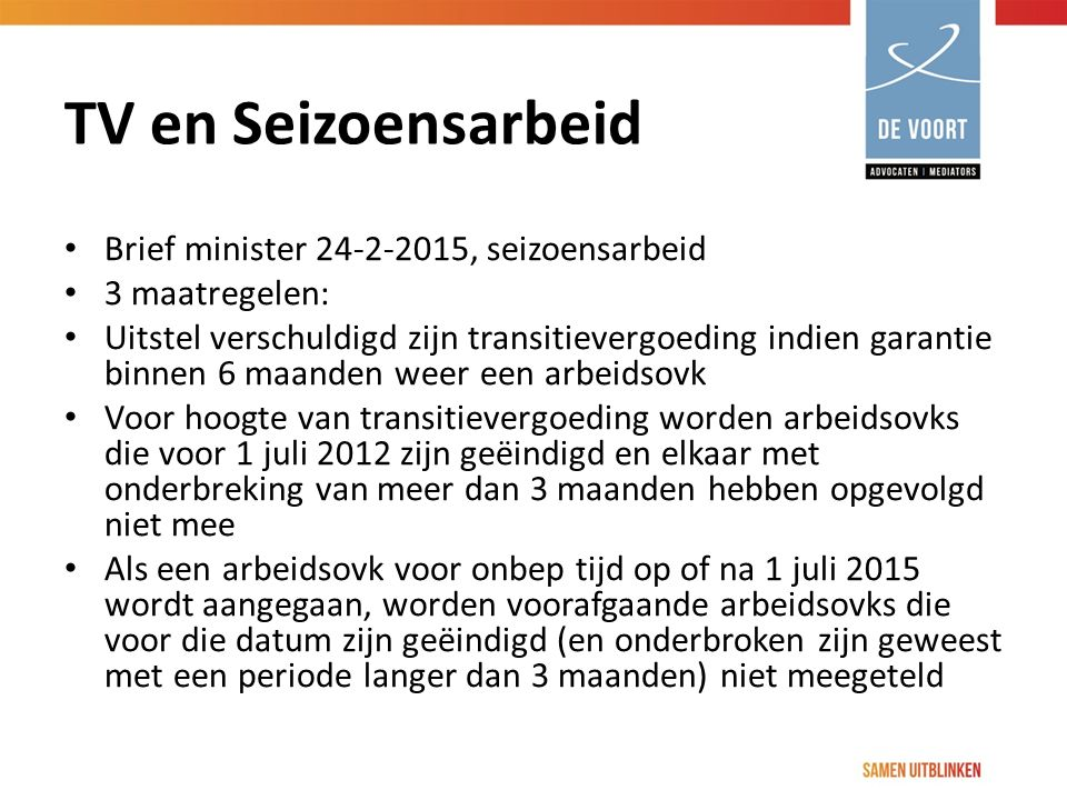 TV en Seizoensarbeid Brief minister 24-2-2015, seizoensarbeid