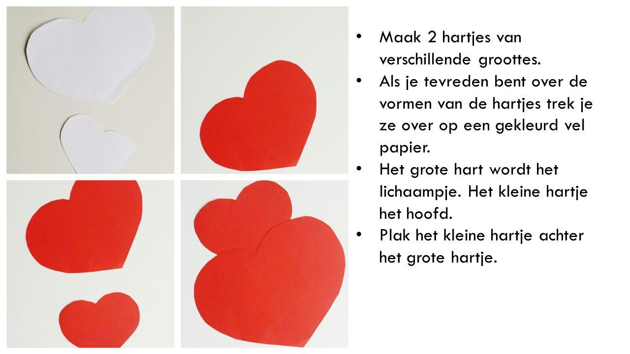 Maak 2 hartjes van verschillende groottes.