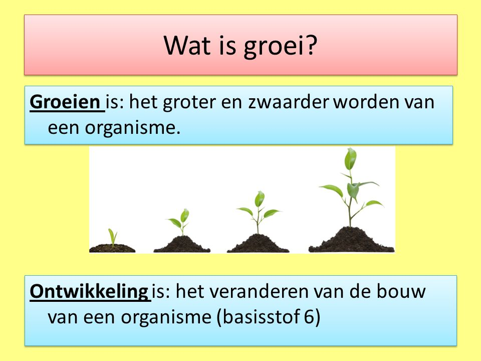Wat is groei Groeien is: het groter en zwaarder worden van een organisme.