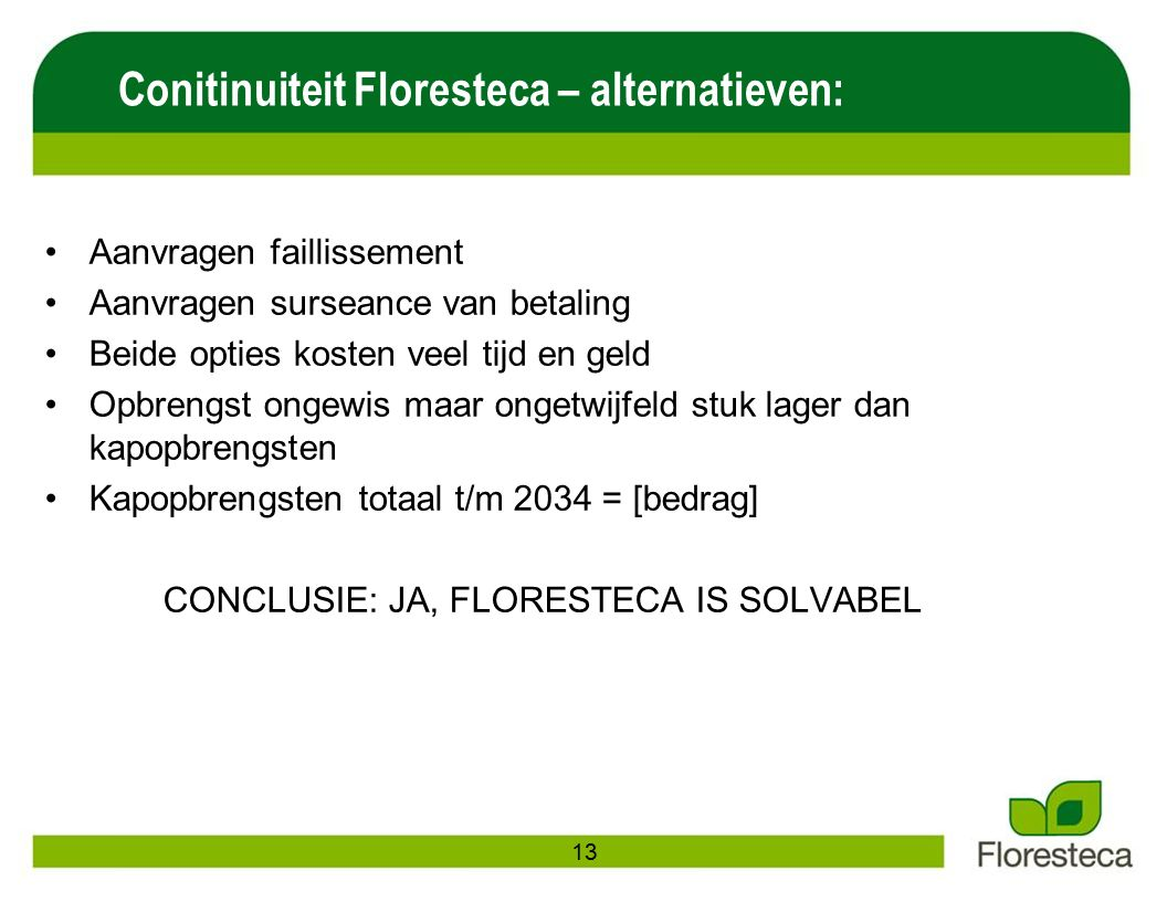 Conitinuiteit Floresteca – alternatieven: