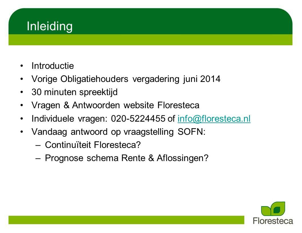 Inleiding Introductie Vorige Obligatiehouders vergadering juni 2014