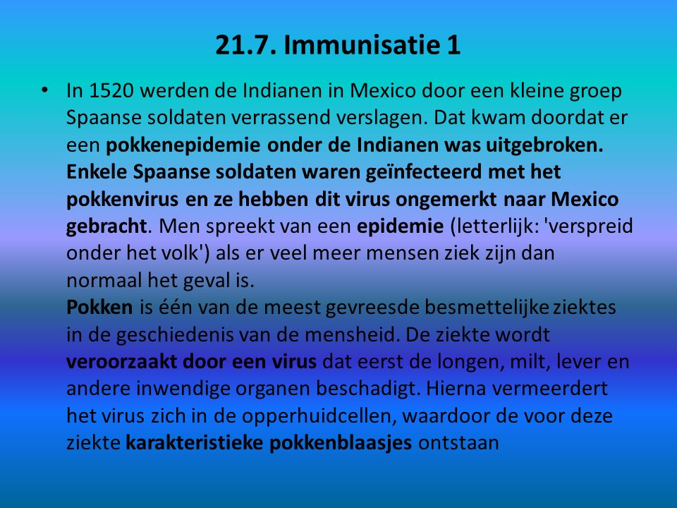 21.7. Immunisatie 1