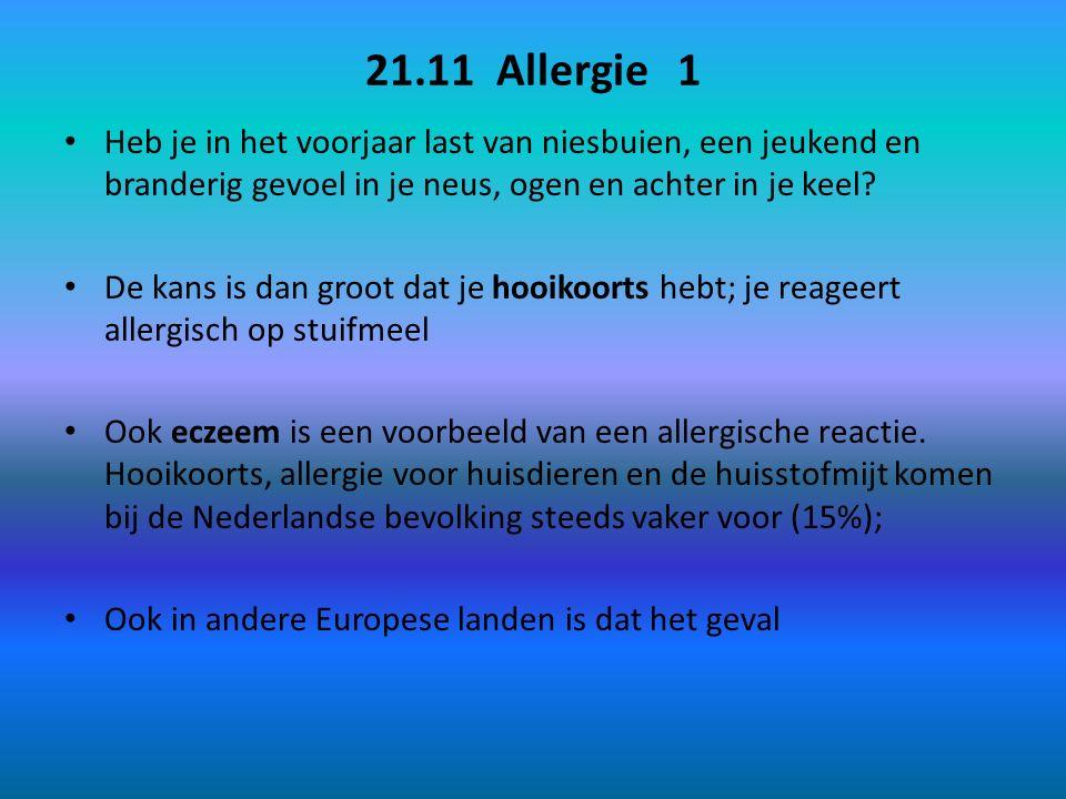 21.11 Allergie 1 Heb je in het voorjaar last van niesbuien, een jeukend en branderig gevoel in je neus, ogen en achter in je keel