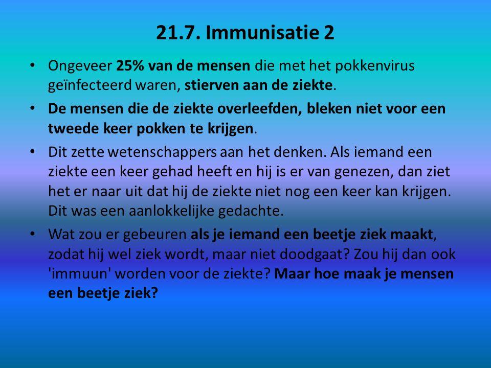 21.7. Immunisatie 2 Ongeveer 25% van de mensen die met het pokkenvirus geïnfecteerd waren, stierven aan de ziekte.