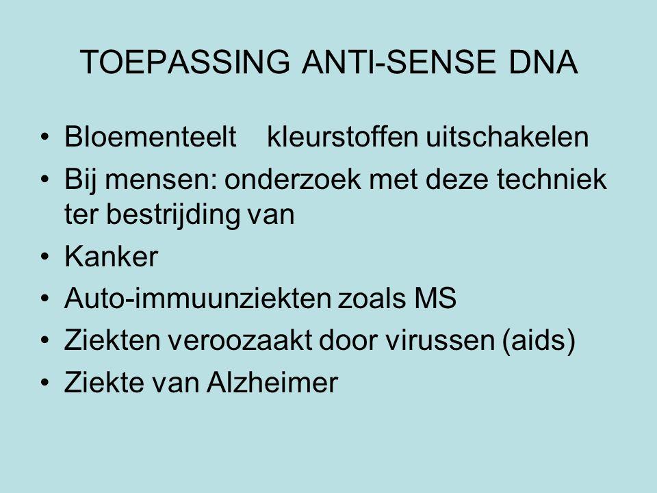 TOEPASSING ANTI-SENSE DNA