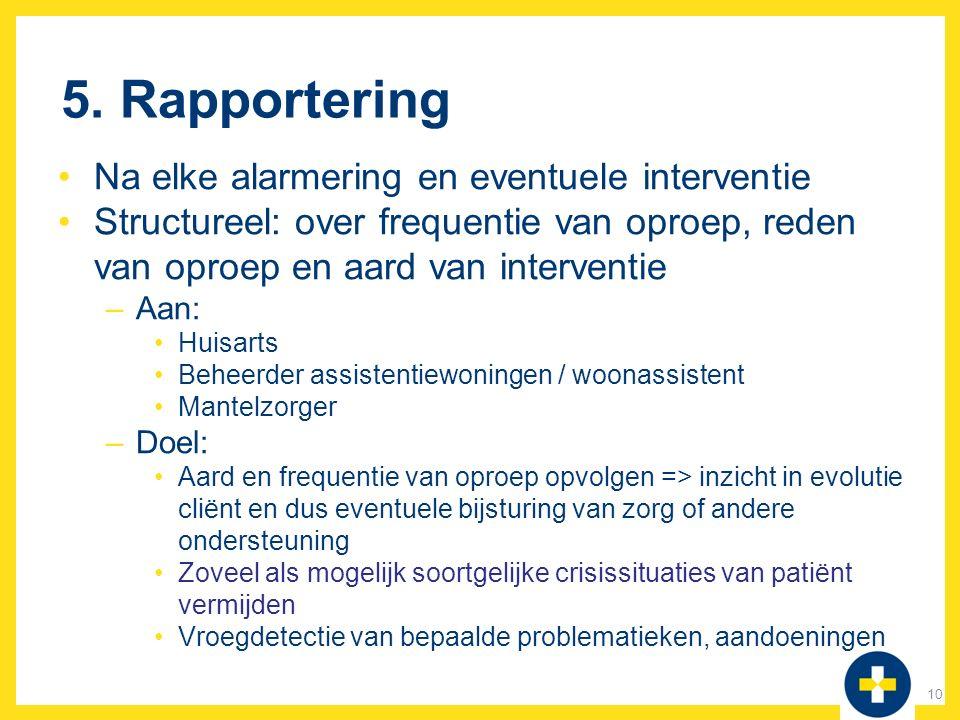5. Rapportering Na elke alarmering en eventuele interventie