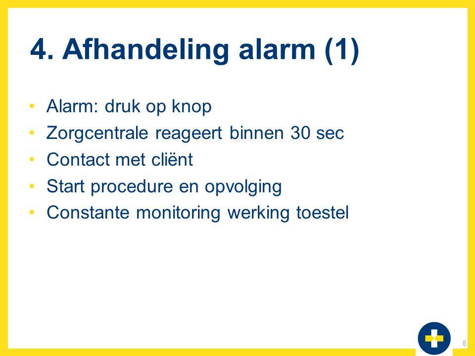 4. Afhandeling alarm (1) Alarm: druk op knop