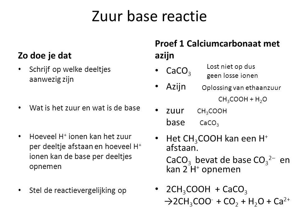 Zuur base reactie Proef 1 Calciumcarbonaat met azijn Zo doe je dat