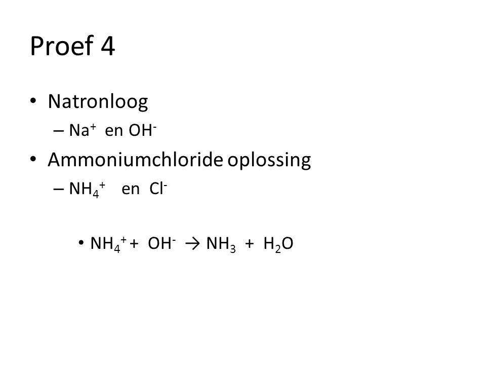 Proef 4 Natronloog Ammoniumchloride oplossing Na+ en OH- NH4+ en Cl-