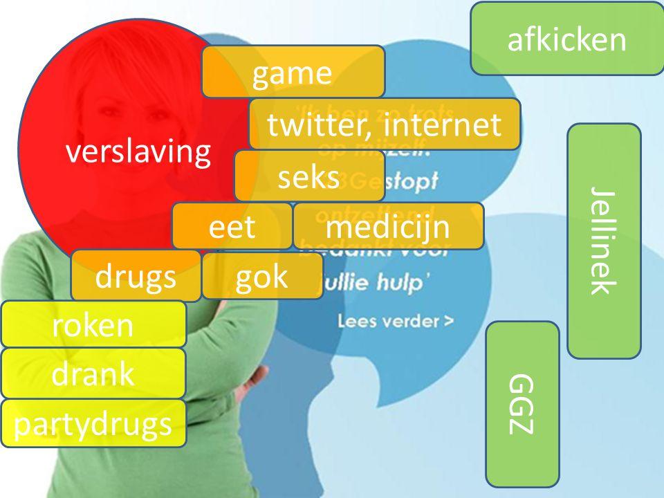 afkicken verslaving. game. twitter, internet. seks. eet. medicijn. Jellinek. drugs. gok. roken.