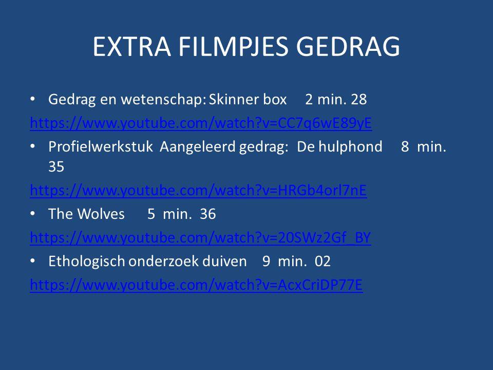 EXTRA FILMPJES GEDRAG Gedrag en wetenschap: Skinner box 2 min. 28