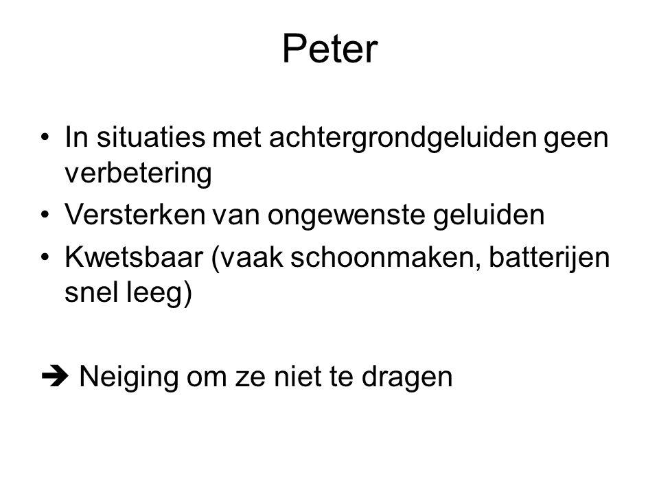 Peter In situaties met achtergrondgeluiden geen verbetering