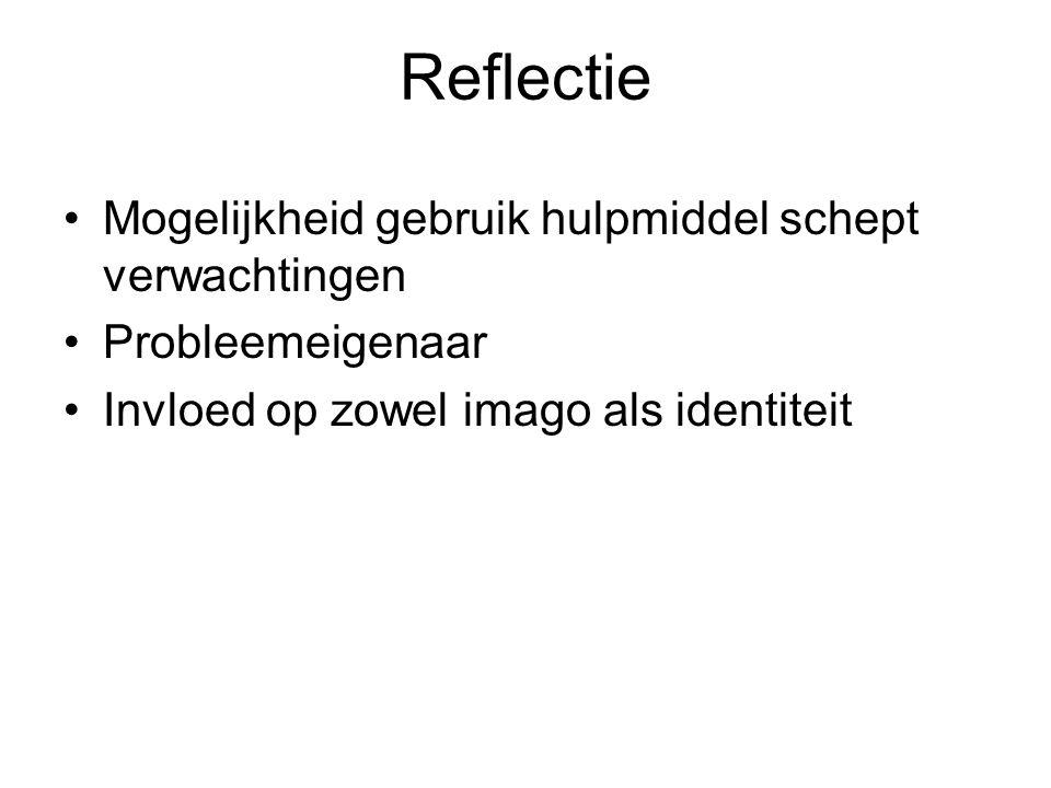 Reflectie Mogelijkheid gebruik hulpmiddel schept verwachtingen