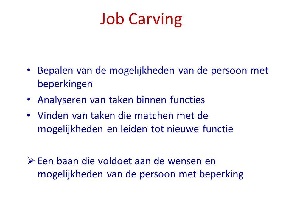 Job Carving Bepalen van de mogelijkheden van de persoon met beperkingen. Analyseren van taken binnen functies.