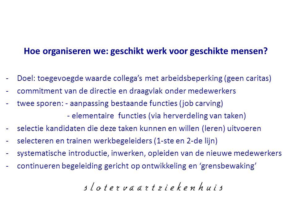 Hoe organiseren we: geschikt werk voor geschikte mensen