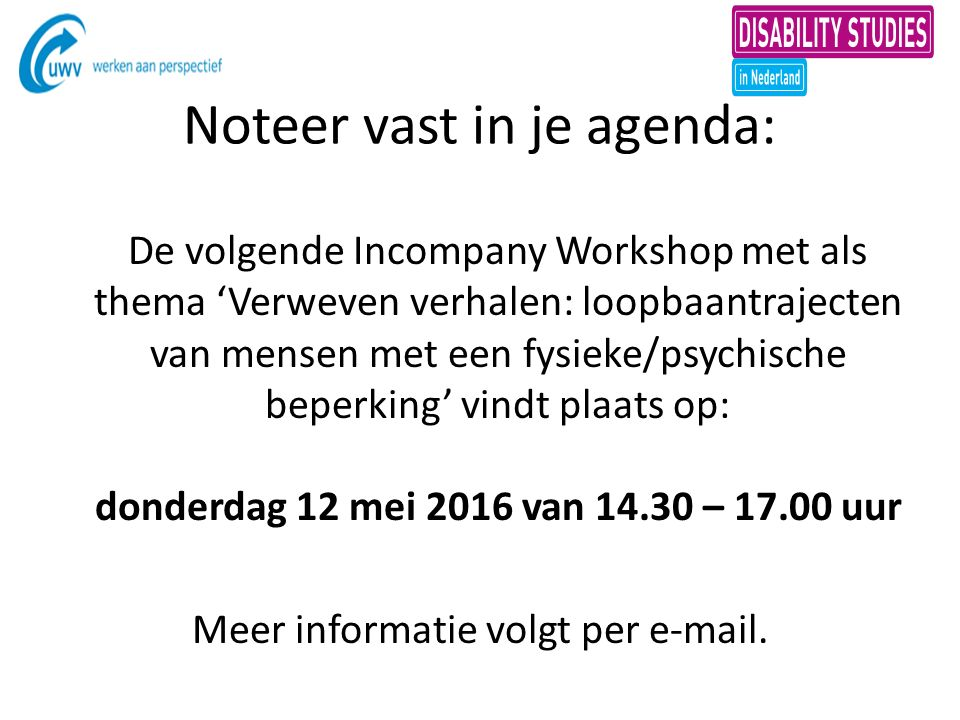 Noteer vast in je agenda: