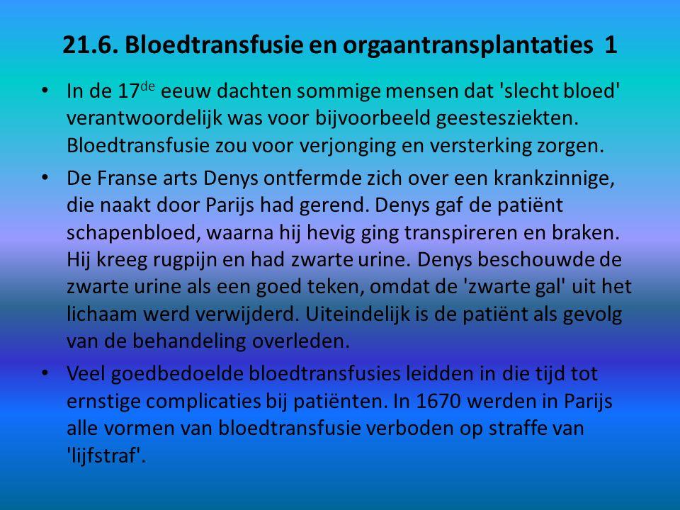 21.6. Bloedtransfusie en orgaantransplantaties 1