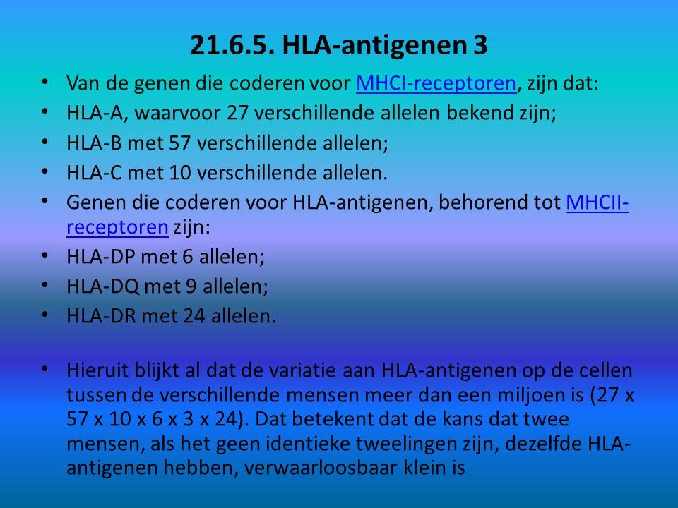 21.6.5. HLA-antigenen 3 Van de genen die coderen voor MHCI-receptoren, zijn dat: HLA-A, waarvoor 27 verschillende allelen bekend zijn;