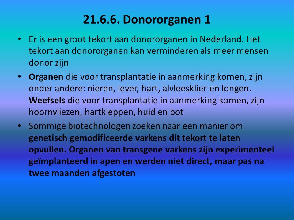 21.6.6. Donororganen 1 Er is een groot tekort aan donororganen in Nederland. Het tekort aan donororganen kan verminderen als meer mensen donor zijn.