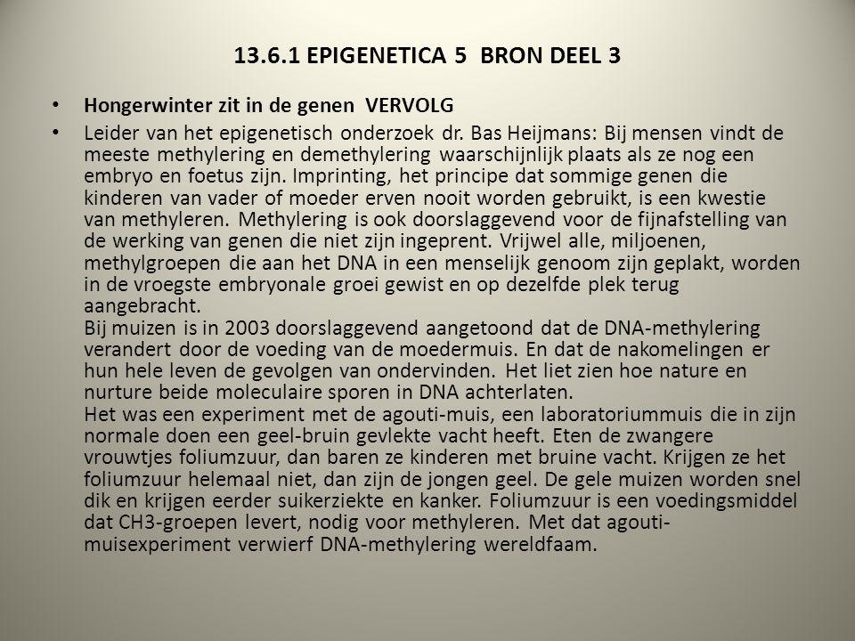 13.6.1 EPIGENETICA 5 BRON DEEL 3 Hongerwinter zit in de genen VERVOLG
