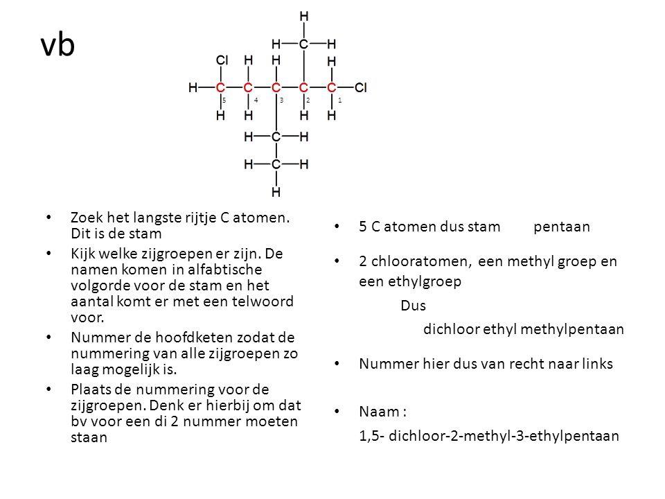 vb Zoek het langste rijtje C atomen. Dit is de stam