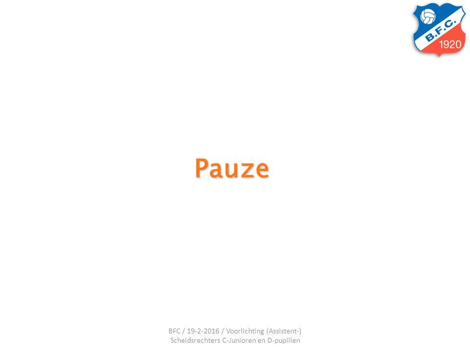 Pauze BFC / 19-2-2016 / Voorlichting (Assistent-) Scheidsrechters C-Junioren en D-pupillen