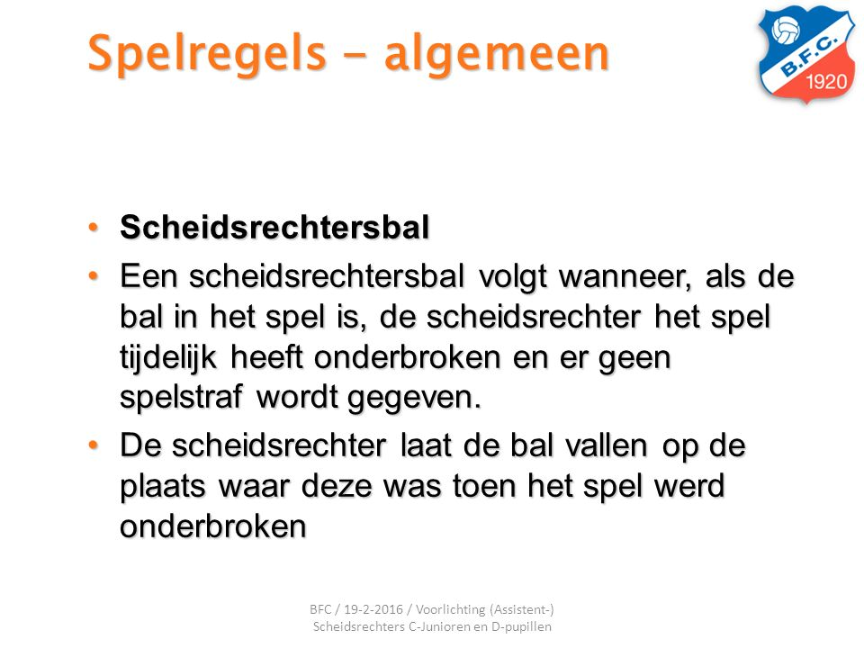 Spelregels - algemeen Scheidsrechtersbal