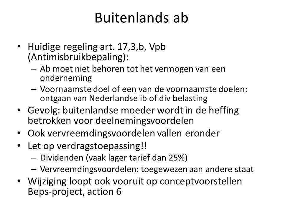 Buitenlands ab Huidige regeling art. 17,3,b, Vpb (Antimisbruikbepaling): Ab moet niet behoren tot het vermogen van een onderneming.