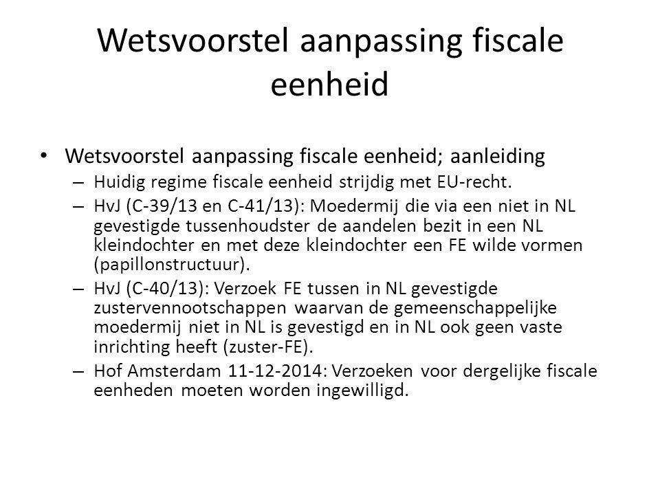 Wetsvoorstel aanpassing fiscale eenheid