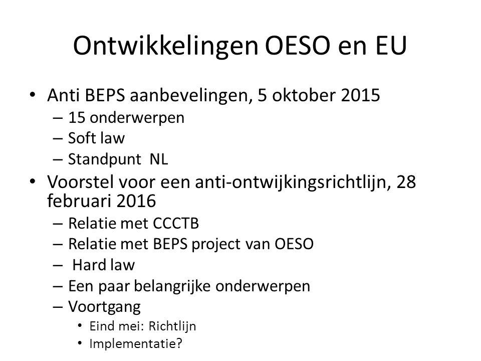 Ontwikkelingen OESO en EU