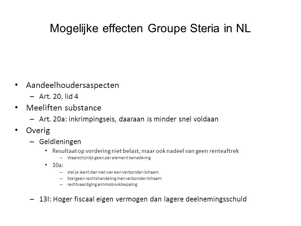 Mogelijke effecten Groupe Steria in NL