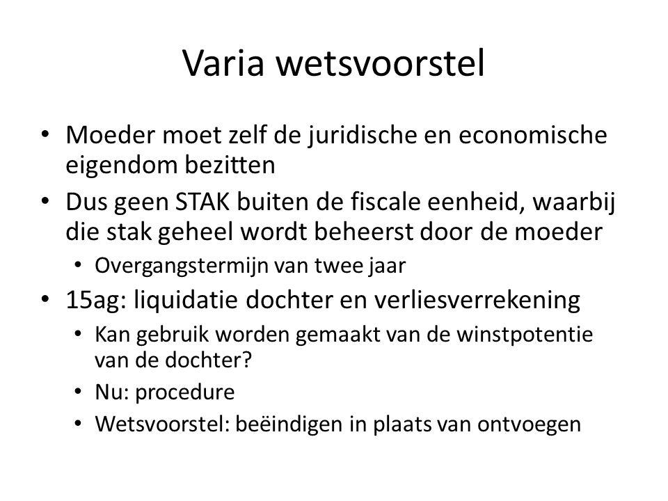 Varia wetsvoorstel Moeder moet zelf de juridische en economische eigendom bezitten.