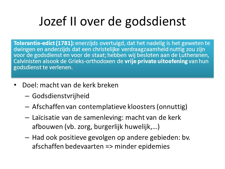 Jozef II over de godsdienst