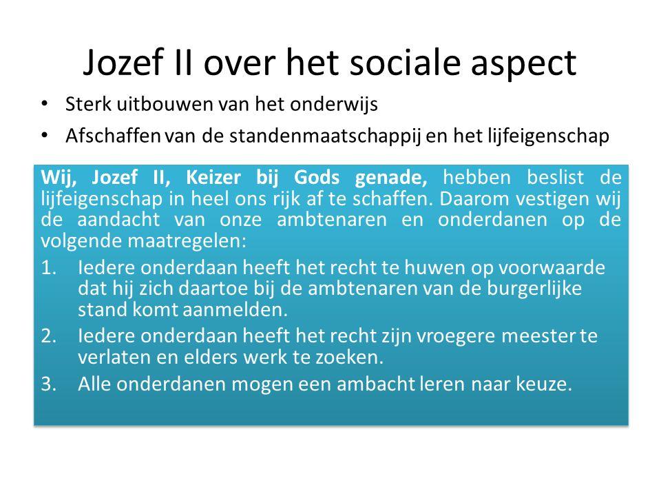 Jozef II over het sociale aspect