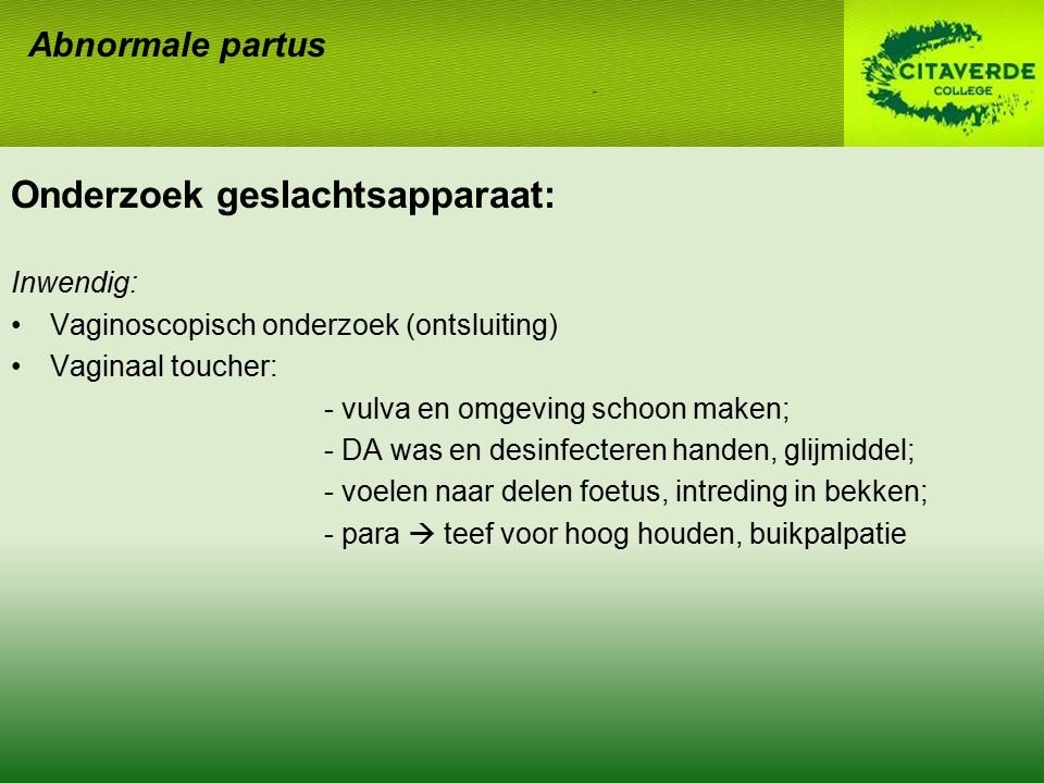 Onderzoek geslachtsapparaat: