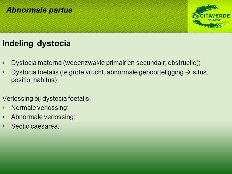 Indeling dystocia Abnormale partus