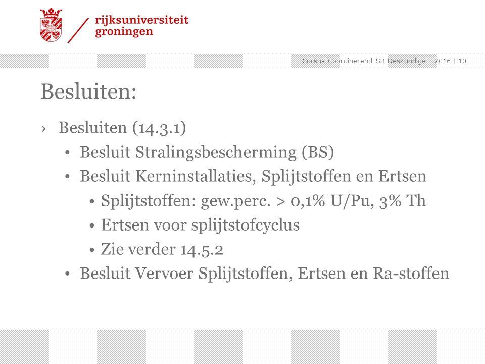 Besluiten: Besluiten (14.3.1) Besluit Stralingsbescherming (BS)