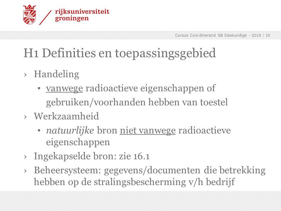 H1 Definities en toepassingsgebied