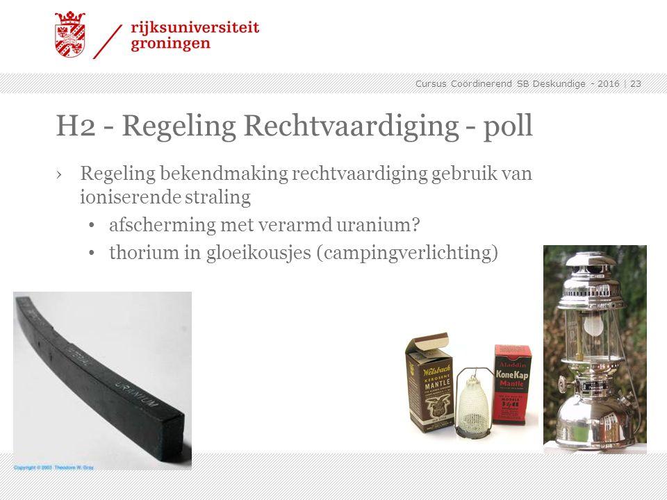H2 - Regeling Rechtvaardiging - poll